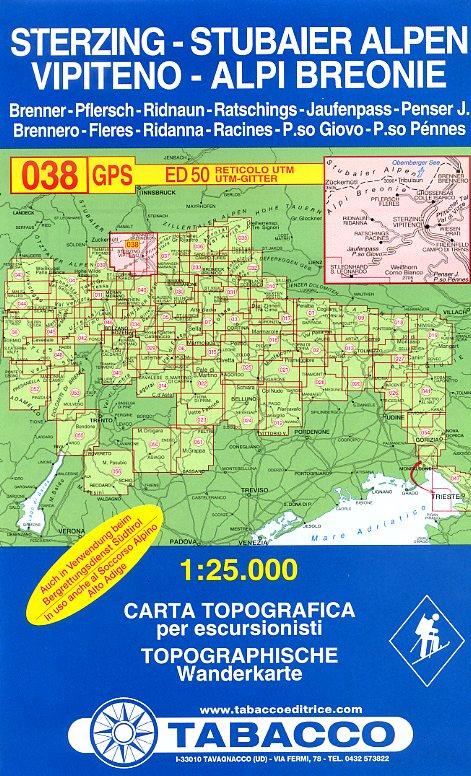 TAB-38  Vipiteno, Alpi Breonie | Tabacco wandelkaart 9788883150388  Tabacco Tabacco 1:25.000  Wandelkaarten Zuid-Tirol, Dolomieten