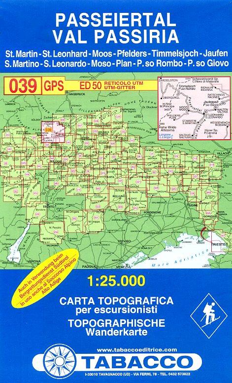 TAB-39  Val Passiria/ Passeiertal | Tabacco wandelkaart 9788883150395  Tabacco Tabacco 1:25.000  Wandelkaarten Zuid-Tirol, Dolomieten