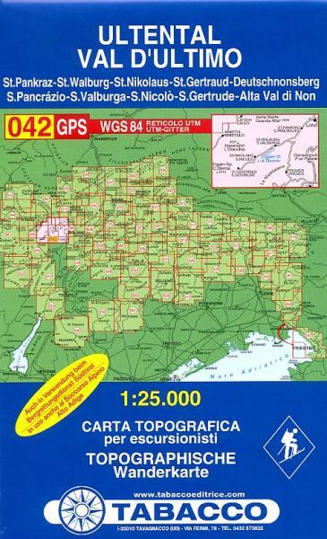 TAB-042  Val d'Ultimo, Ultental | Tabacco wandelkaart 9788883150562  Tabacco Tabacco 1:25.000  Wandelkaarten Zuid-Tirol, Dolomieten