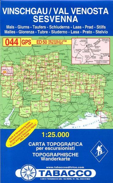 TAB-044  Val Venosta - Sesvenna | Tabacco wandelkaart 9788883150609  Tabacco Tabacco 1:25.000  Wandelkaarten Zuid-Tirol, Dolomieten