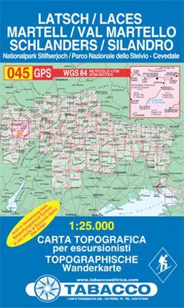 TAB-045 Laces/ Val Martello | Tabacco wandelkaart 9788883150661  Tabacco Tabacco 1:25.000  Wandelkaarten Zuid-Tirol, Dolomieten