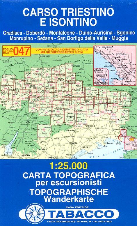 TAB-047 Carso Triestino e Isontino | Tabacco wandelkaart 9788883150685  Tabacco Tabacco 1:25.000  Wandelkaarten Venetië, Veneto, Friuli
