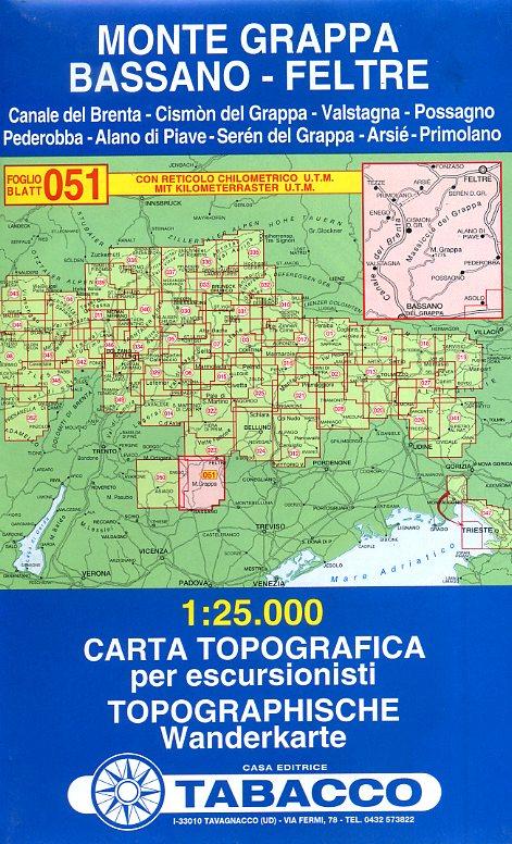TAB-051  Monte Grappa | Tabacco wandelkaart 9788883150869  Tabacco Tabacco 1:25.000  Wandelkaarten Zuid-Tirol, Dolomieten