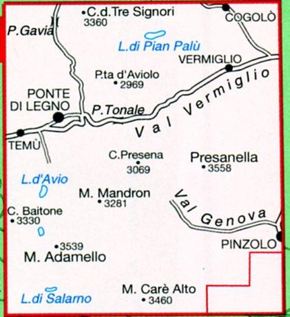 TAB-052  Adamello, Presanella | Tabacco wandelkaart 9788883150876  Tabacco Tabacco 1:25.000  Wandelkaarten Zuid-Tirol, Dolomieten