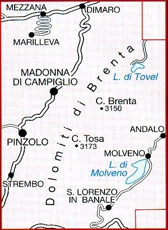 TAB-053  Dolomiti di Brenta   Tabacco wandelkaart 9788883150890  Tabacco Tabacco 1:25.000  Wandelkaarten Zuid-Tirol, Dolomieten