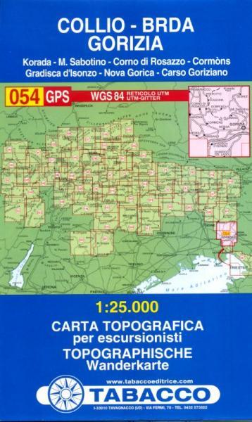TAB-054  Collio, Brda, Gorizia | Tabacco wandelkaart 9788883150913  Tabacco Tabacco 1:25.000  Wandelkaarten Venetië, Veneto, Friuli