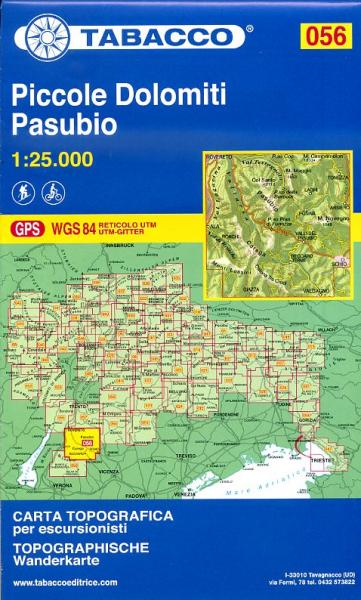 TAB-56 Piccole Dolomiti Pasubio | Tabacco wandelkaart 9788883150937  Tabacco Tabacco 1:25.000  Wandelkaarten Gardameer