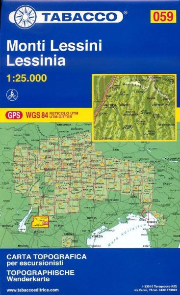 TAB-59 Monti Lessini | Tabacco wandelkaart 9788883150999  Tabacco Tabacco 1:25.000  Wandelkaarten Gardameer