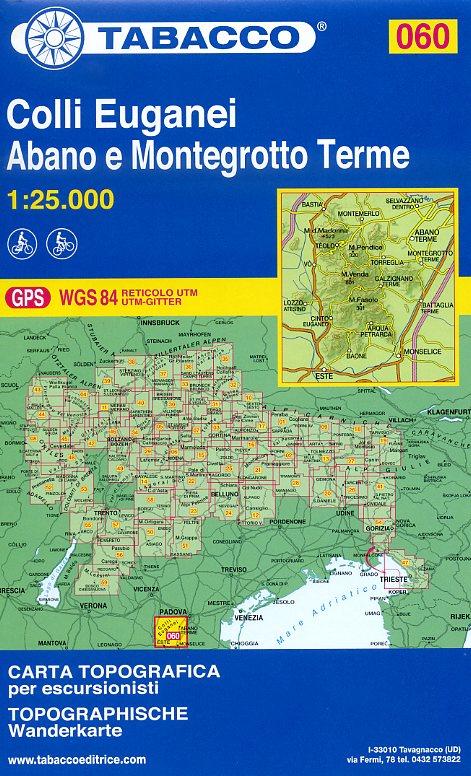 TAB-060  Colli Euganei | Tabacco wandelkaart 9788883151026  Tabacco Tabacco 1:25.000  Wandelkaarten Zuid-Tirol, Dolomieten