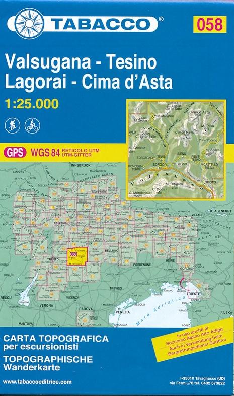 TAB-58  Valsugana, Tesino | Tabacco wandelkaart 9788883151040  Tabacco Tabacco 1:25.000  Wandelkaarten Zuid-Tirol, Dolomieten