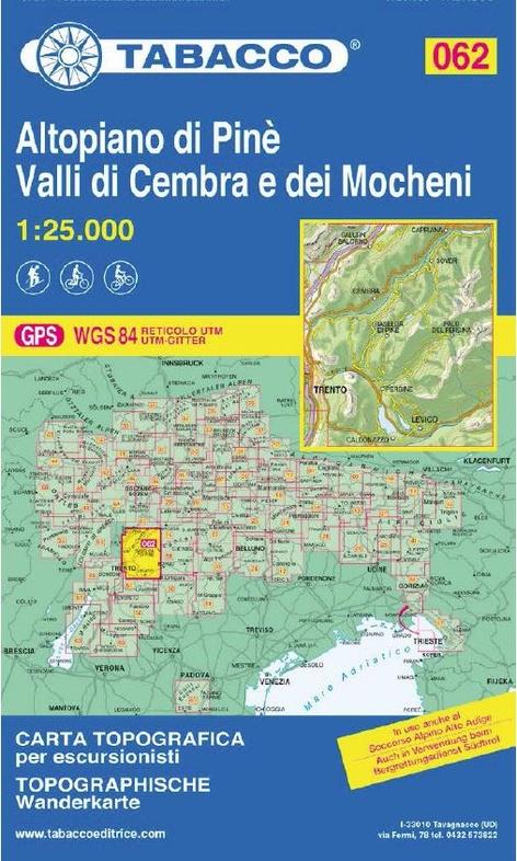 TAB-62  Altopiano di Pinè | Tabacco wandelkaart 9788883151071  Tabacco Tabacco 1:25.000  Wandelkaarten Zuid-Tirol, Dolomieten