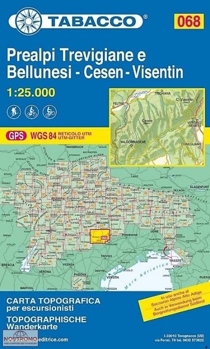 TAB-068  Prealpi Trevigiane e Bellunesi | Tabacco wandelkaart 9788883151149  Tabacco Tabacco 1:25.000  Wandelkaarten Zuid-Tirol, Dolomieten