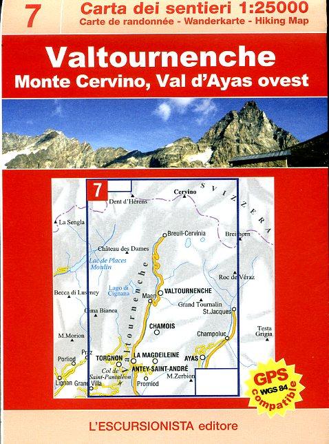ESC-07  Valtournenche | wandelkaart 1:25.000 9788890391828  Escursionista Carta dei Sentieri 1:25.000  Wandelkaarten Aosta, Gran Paradiso