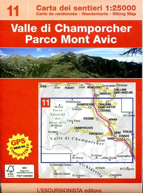 ESC-11  Mont Avic, Valle di Champorcher | wandelkaart 1:25.000 9788890578410  Escursionista Carta dei Sentieri 1:25.000  Wandelkaarten Aosta, Gran Paradiso