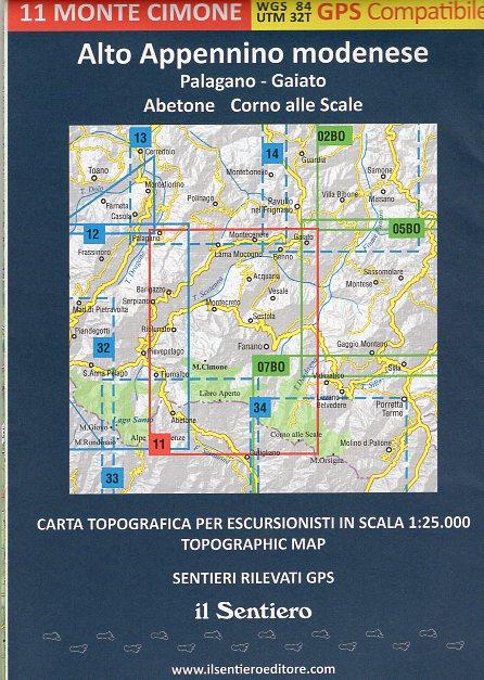 Monte Cimone 1:25.000 (11) 9788890999536  Il Sentiero   Wandelkaarten Bologna, Emilia-Romagna