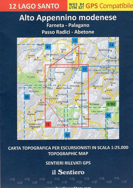 Lago Santo 1:25.000 (12) Alto Appennino Modenese 9788890999543  Il Sentiero   Wandelkaarten Bologna, Emilia-Romagna