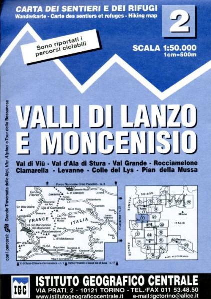 IGC-02: Valle di Lanzo e Moncenisio 9788896455029  IGC IGC: 1:50.000  Wandelkaarten Turijn, Piemonte