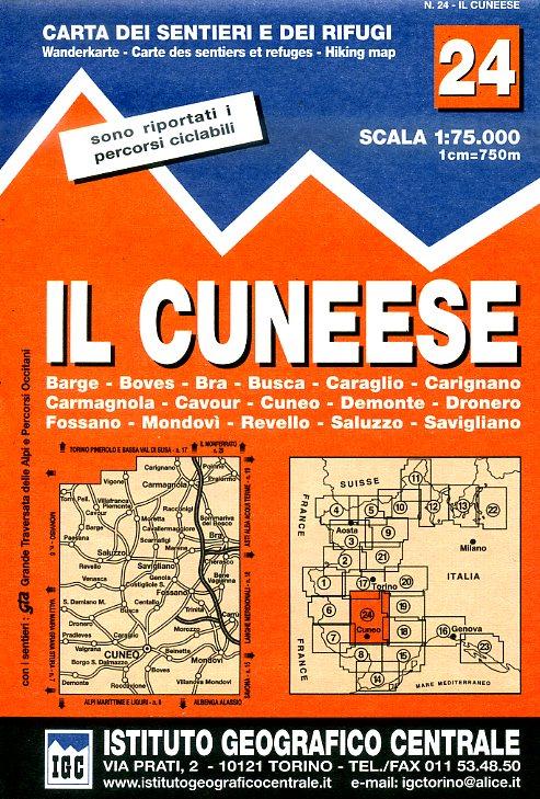 IGC-24 Il Cuneese 1:75.000 9788896455241  IGC IGC: 1:50.000  Wandelkaarten Turijn, Piemonte