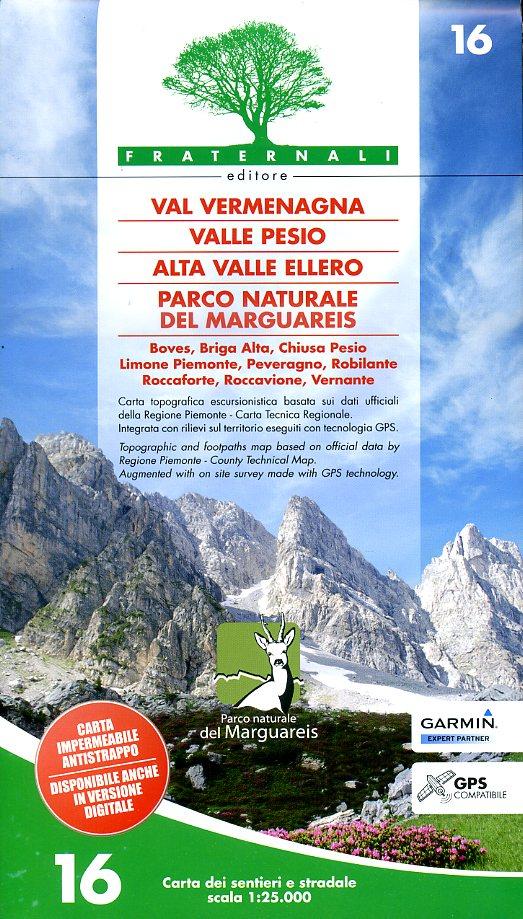 FRA-16  Vermenagna. Valle Pesio, Alta Valle Ellero | wandelkaart 1:25.000 9788897465140  Fraternali Editore   Wandelkaarten Turijn, Piemonte