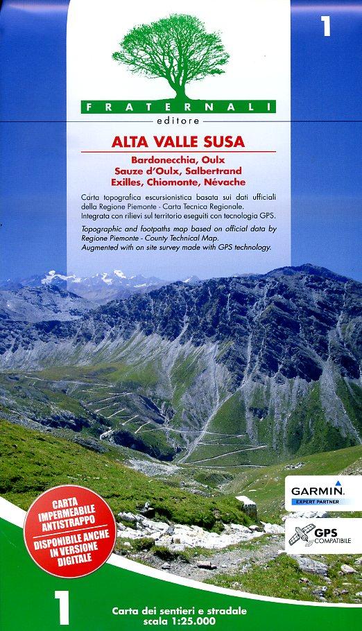 FRA-01 Alta Valle Susa | wandelkaart 1:25.000 9788897465225  Fraternali Editore   Wandelkaarten Turijn, Piemonte