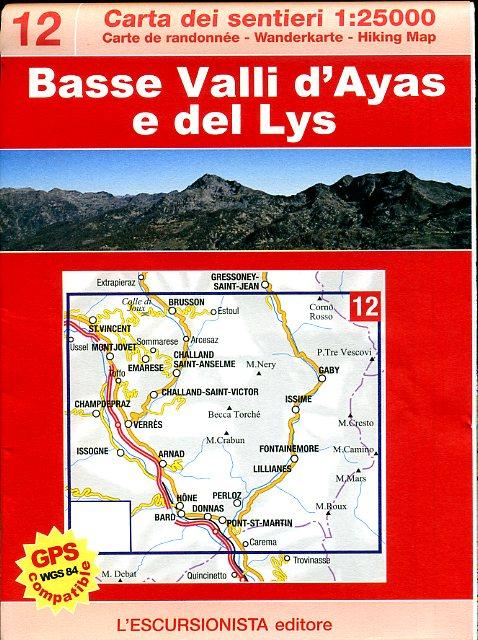 ESC-12  Bassa Valle d'Ayas e Gressoney | wandelkaart 1:25.000 9788898520015  Escursionista Carta dei Sentieri 1:25.000  Wandelkaarten Aosta, Gran Paradiso