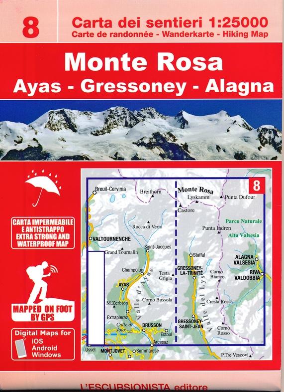 ESC-08  Monte Rosa | wandelkaart 1:25.000 9788898520688  Escursionista Carta dei Sentieri 1:25.000  Wandelkaarten Aosta, Gran Paradiso