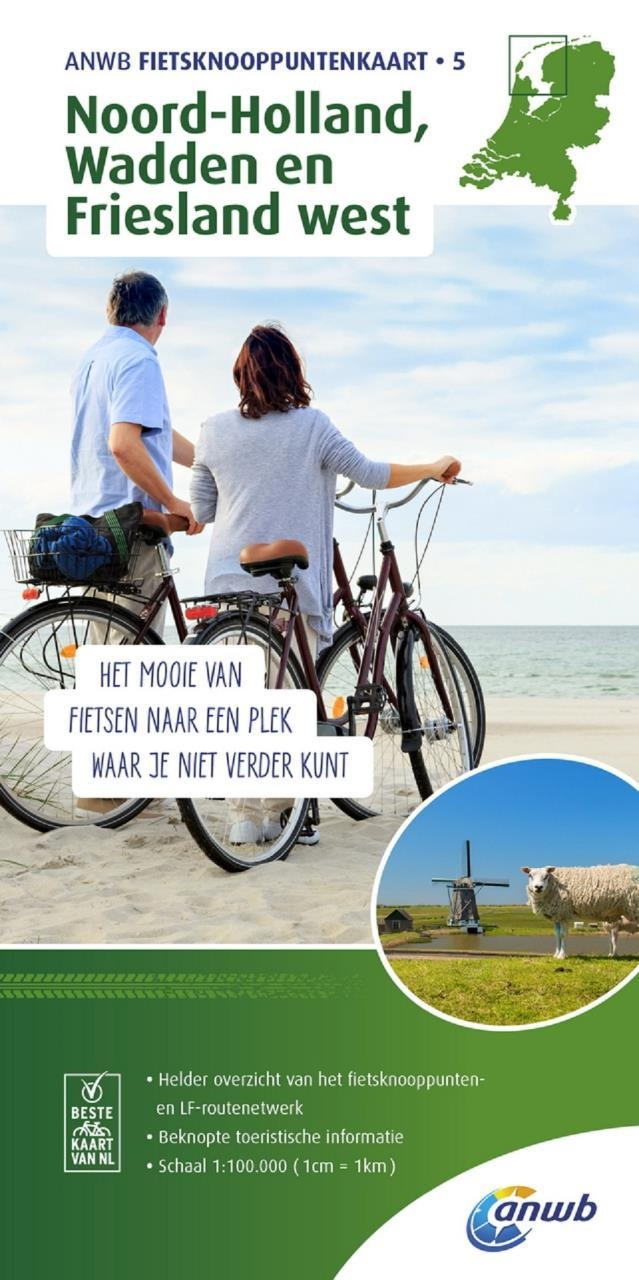 AFK-5  Noord-Holland, Wadden en Friesland-west |  fietskaart 1:100.000 9789018041960  ANWB ANWB - fietskaarten 100.000  Fietskaarten Noord Nederland, Noord-Holland