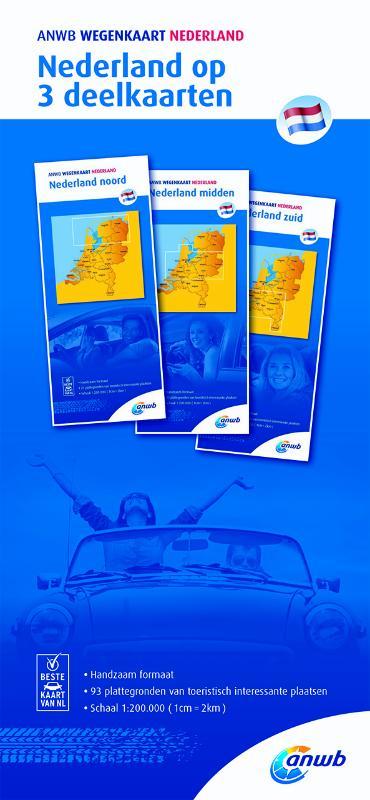 Nederland 1:200.000 wegenkaartenset in drie delen 9789018042035  ANWB ANWB wegenkaarten 1:200.000  Landkaarten en wegenkaarten Nederland