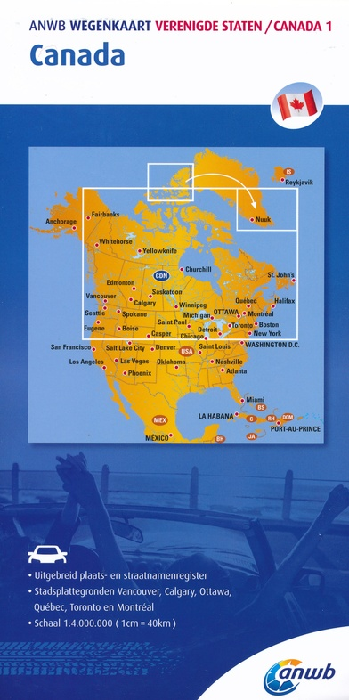 ANWB wegenkaart Canada 9789018042981  ANWB Wegenkaarten  Landkaarten en wegenkaarten Canada