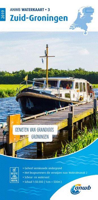 WTK-03  Zuid-Groningen Waterkaart 9789018044732  ANWB ANWB Waterkaarten  Watersportboeken Groningen