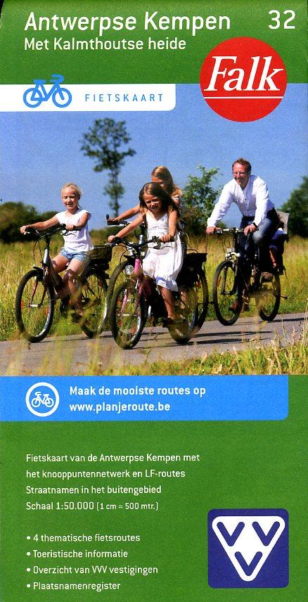 FFK-32 Antwerpse Kempen | VVV fietskaart 1:50.000 9789028727861  Falk Fietskaarten met Knooppunten  Fietskaarten Vlaanderen & Brussel