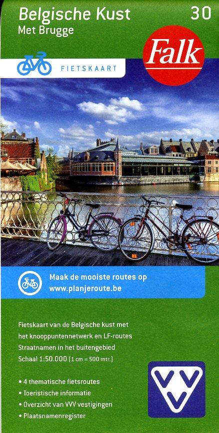 FFK-30 Belgische kust & Brugge | VVV fietskaart 1:50.000 9789028727892  Falk Fietskaarten met Knooppunten  Fietskaarten Belgische Kust
