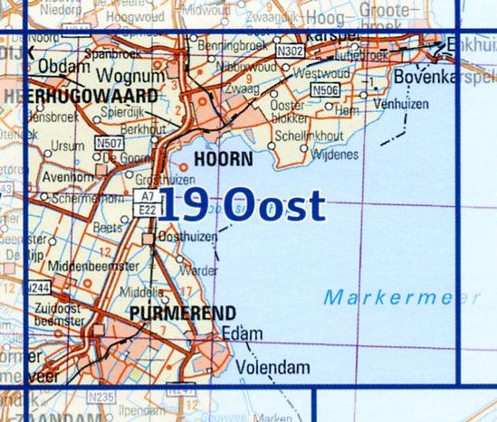 19 Oost 9789035001992  Topografische Dienst / Kadaster Ned. 1:50.000  Wandelkaarten Noord-Holland