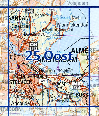 25 Oost 9789035002593  Topografische Dienst / Kadaster Ned. 1:50.000  Wandelkaarten Amsterdam