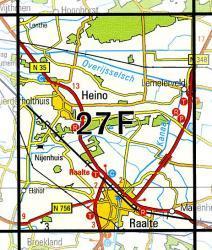 27F  Raalte 1:25.000 9789035002753  Topografische Dienst / Kadaster Topografische Kaart  Wandelkaarten Kop van Overijssel, Vecht & Salland