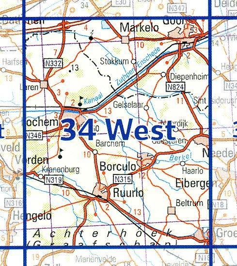 34  West 9789035003484  Topografische Dienst / Kadaster Ned. 1:50.000  Wandelkaarten Gelderse IJssel en Achterhoek