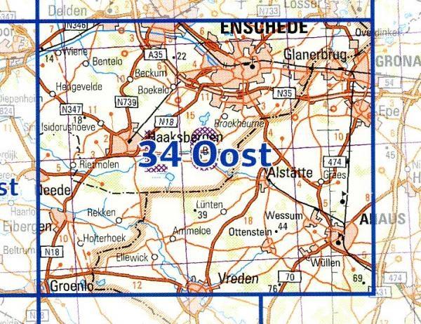 34 Oost 9789035003491  Topografische Dienst / Kadaster Ned. 1:50.000  Wandelkaarten Gelderse IJssel en Achterhoek, Twente