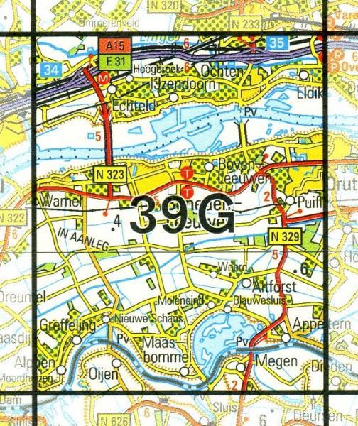 39G  Beneden-Leeuwen 1:25.000 9789035003965  Topografische Dienst / Kadaster Topografische Kaart  Wandelkaarten Nijmegen en het Rivierengebied