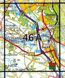 46A  Cuyk 1:25.000 9789035004603  Topografische Dienst / Kadaster Topografische Kaart  Wandelkaarten Nijmegen en het Rivierengebied, Noord-Brabant