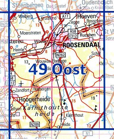 49 Oost 9789035004993  Topografische Dienst / Kadaster Ned. 1:50.000  Wandelkaarten Noord-Brabant