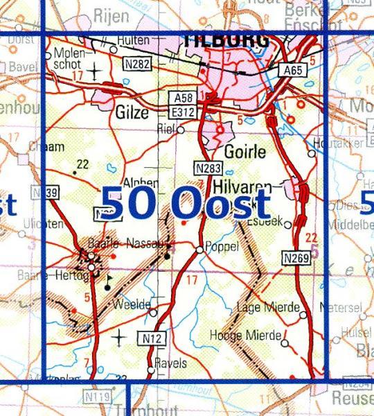 50 Oost 9789035005099  Topografische Dienst / Kadaster Ned. 1:50.000  Wandelkaarten Noord-Brabant