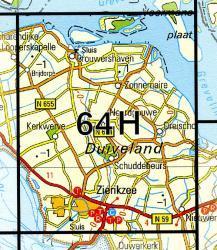 64H  Zierikzee 1:25.000 9789035006478  Topografische Dienst / Kadaster Topografische Kaart  Wandelkaarten Zeeland