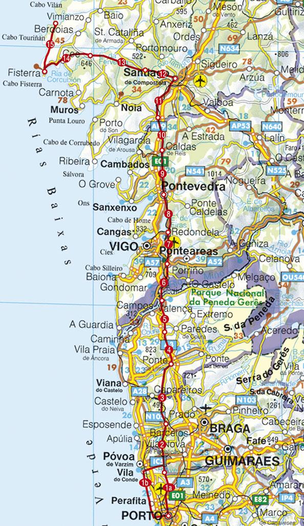 Caminho Português Rother | wandelgids Camino Portugues 9789038925011  Elmar RWG  Santiago de Compostela, Wandelgidsen Noord en Midden-Portugal, Lissabon, Noordwest-Spanje