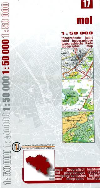 NGI-17  Mol (topografische kaart 1:50.000) 9789059340862  NGI Belgie 1:50.000  Wandelkaarten Vlaanderen