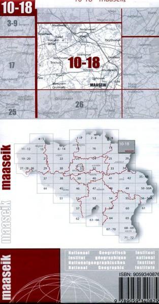 NGI-10-18  Maaseik (topografische kaart 1:50.000) 9789059340879  NGI Belgie 1:50.000  Wandelkaarten Vlaanderen & Brussel