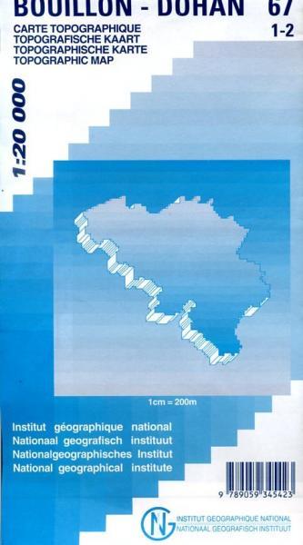 NGI-67/1-2  Bouillon, Dohan | topografische wandelkaart 1:20.000 9789059345423  NGI Belgie 1:20.000/25.000  Wandelkaarten Wallonië (Ardennen)