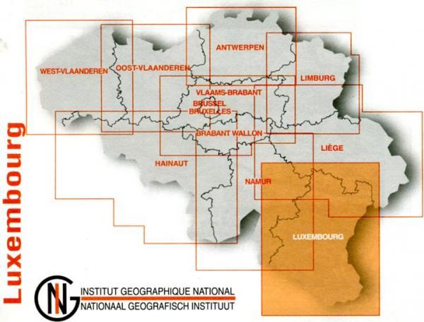 Luxemburg provinciekaart 9789059345898  NGIB Provinciekaarten (B) 1:100d.  Landkaarten en wegenkaarten Wallonië (Ardennen)