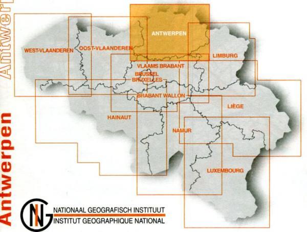 Antwerpen provinciekaart 9789059345928  NGIB Provinciekaarten (B) 1:100d.  Landkaarten en wegenkaarten Vlaanderen