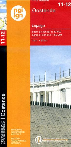 NGI-11-12  Oostduinkerke-Oostende (topografische kaart 1:50.000) 9789059349346  NGI Belgie 1:50.000  Wandelkaarten Belgische Kust