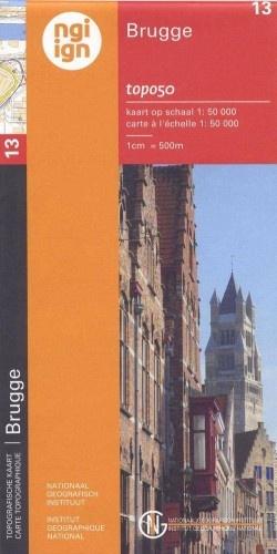 NGI-13  Brugge (topografische kaart 1:50.000) 9789059349353  NGI Belgie 1:50.000  Wandelkaarten Vlaanderen